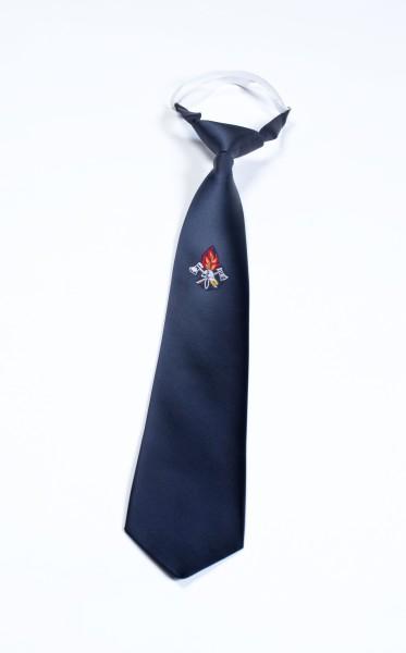 Krawatte dunkelblau mit Knoten und Band